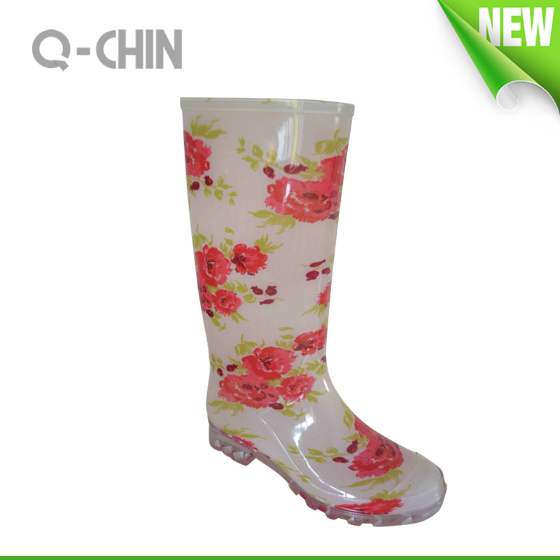 W014 women or lady camo overshoes plastic rain boots