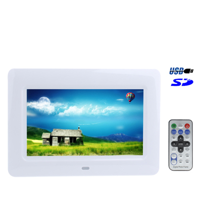 In stock hot sale cheap 7 inch LCD Digital Photo Frame power adapter with Remote Control, Support USB / SD / MS /MMC Card Input