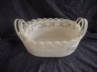 fashionable crochet cotton baskets with PVC handles