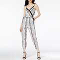 Pull-on Styling Printed Surplice Neckline Woman Bodycon Jumpsuits