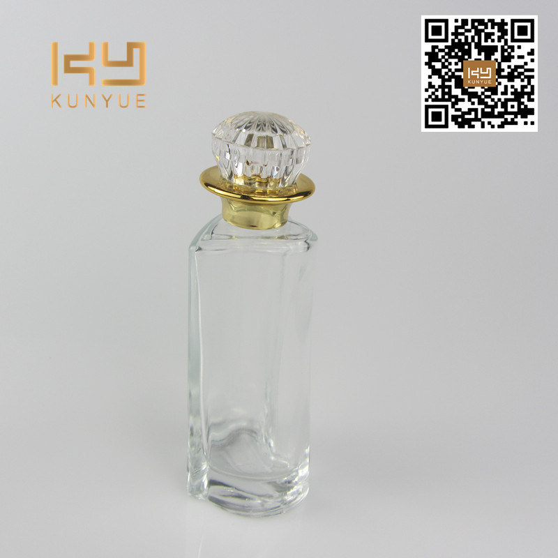 50ml heart shaped glass perfume bottle with shine crown cap