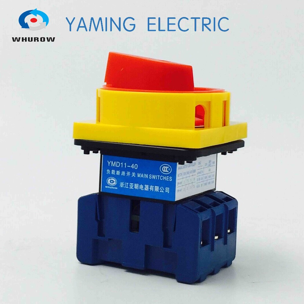 Isolating switch 40A 3 Phase 6 screw terminal Universal changeover cam rotary switch YMD11-40A