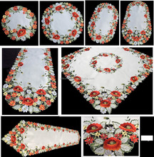 satin rose embroidery table cloth with hand cutwork american design