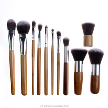 Women 11pcs Wooden Powder Brush Eye Smudge Eyeshadow Makeup Brushes set foundation makeup brushes kit with pouch