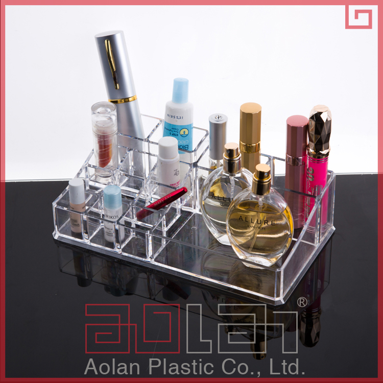 Wholesale 3 tiers acrylic lucite clear cube makeup organizer/plastic makeup box