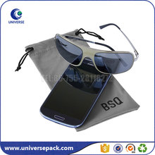 Promotion microfiber eyeglasses bag/cell phone pouch with drawstring