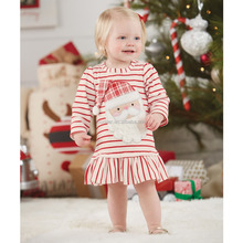 2017 Ins Popular Series Red And White Stripe Long Sleeve Ruffles Baby Dress