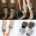 Women Fluffy Faux Fur Cuffs Boot Toppers Leopard-print Leg Warmers