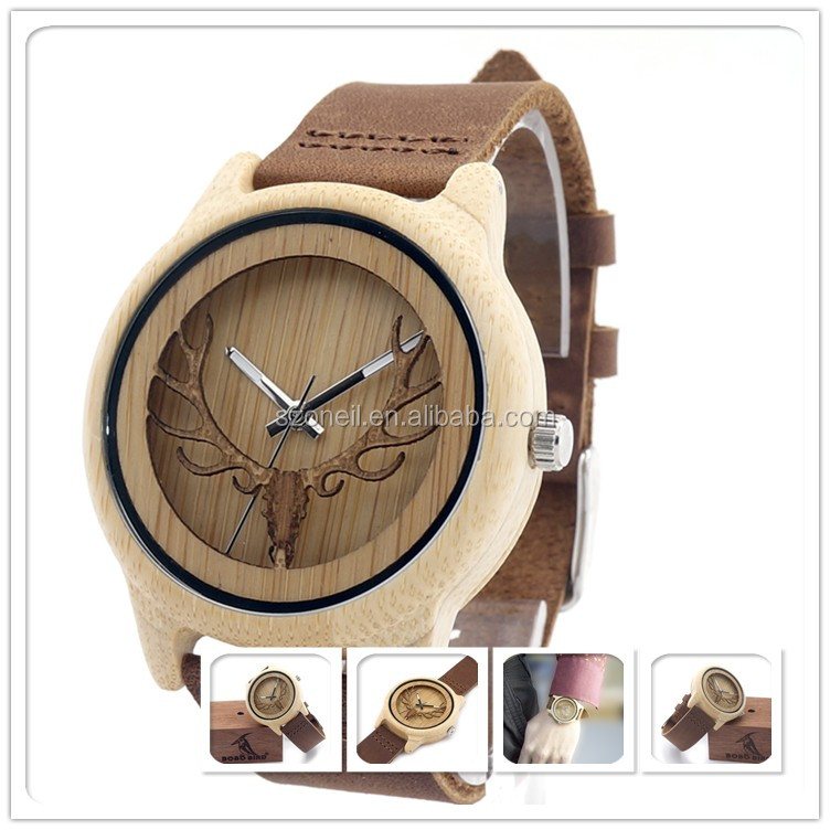 Healthy Natural Wood Watch Genuine Leather Watch Band Male Western Style Wrist Watch