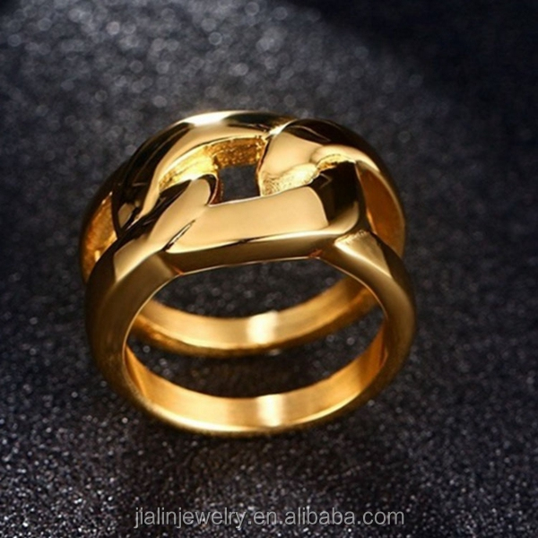 Trending stainless steel mens gold chain rings jewelry designs