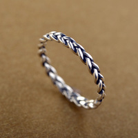 Cheap price jewelry fashion 925 silver material tat rope design cute knuckle ring for girls