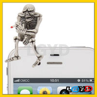 Fahion smartphone 3.5mm Jack Skull Style Earphone Anti-dust phone dust Plug for iPhone 4S & 4 /FOR iPod /for iPad