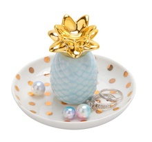 Light blue Pineapple jewel ceramic tray boxes craftworksceramic ornaments decoration <strong>shelf</strong> ring holder