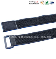 Adjustable hook and loop elastic strap with plastic buckle