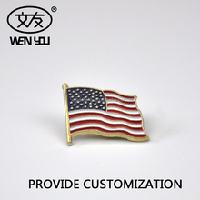 Custom Hard Enamal American Flag Metal Badge Pin With Butterfly Button Clip for Decoration