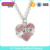 Pink Crystal MOM Heart Necklace Custom Meaningful Jewlery #257