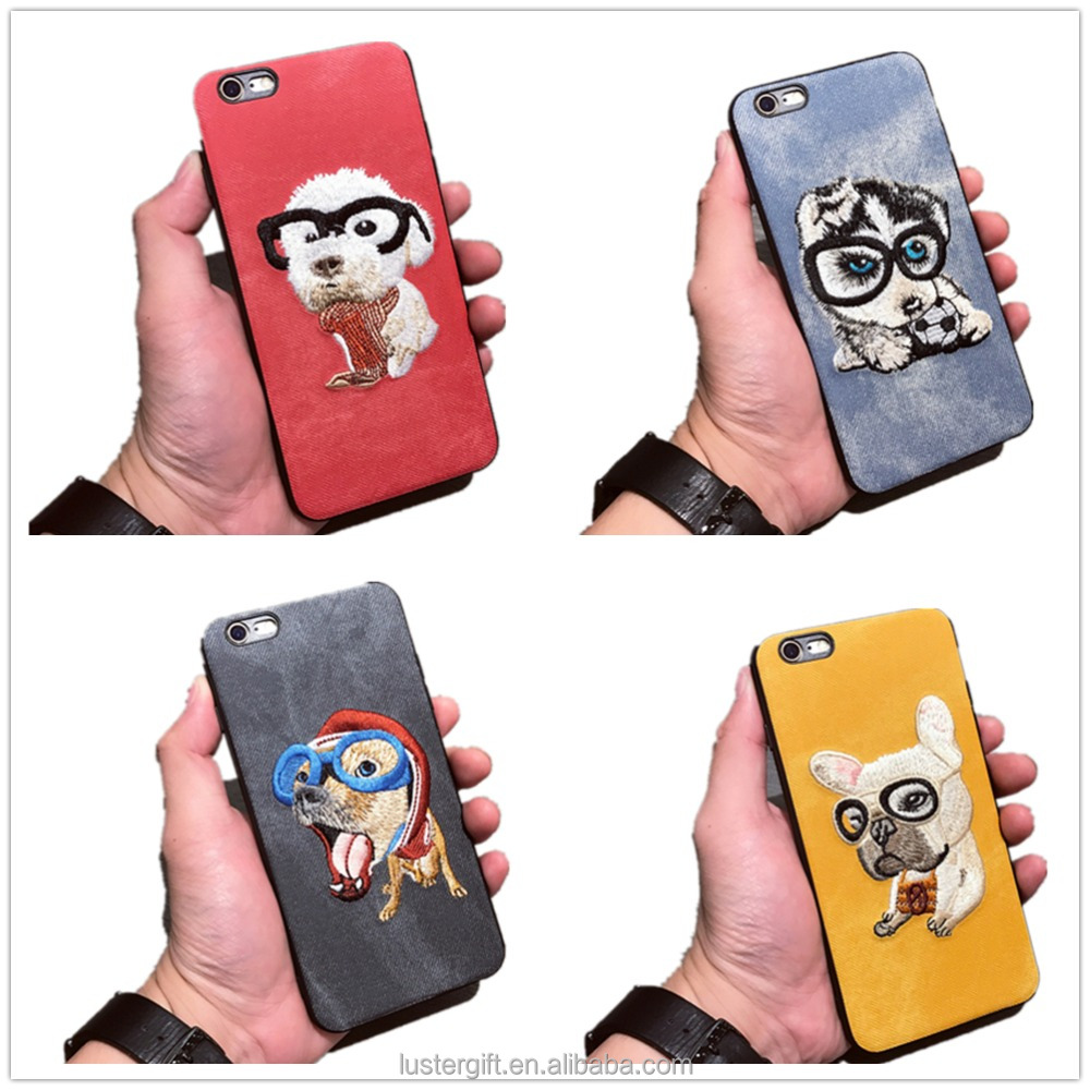 For iPhone X 7 7 Plus 6 6 Plus Hard PC Handmade Cover PU Leather 3D Embroidery Dog Phone Case