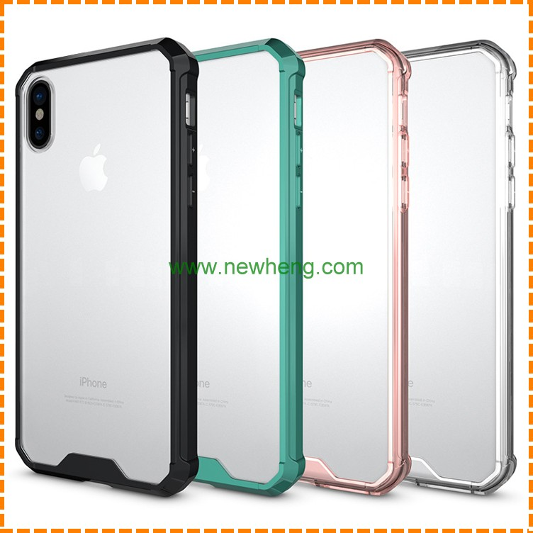 Wholesale Transparent Acrylic +TPU bumper hybrid Shockproof case for Iphone X