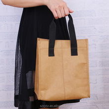 New design recycled washable kraft paper cooler lunch bag