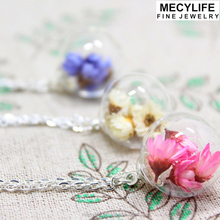 MECYLIFE personalized dry flower filled creative glass terrarium necklace