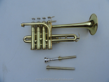 Wholesale brass trumpets, BB trumpet, four gold plated piston piccolo trumpet