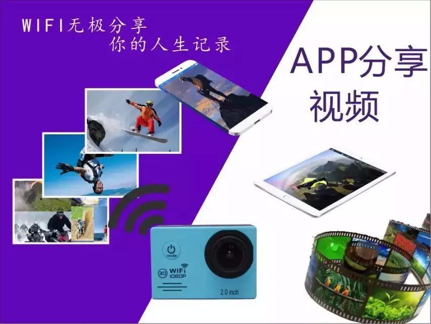 Multifunctional 30m waterproof 2.0 inch Ful HD 1080p WIFI sj7000 sport camera wifi