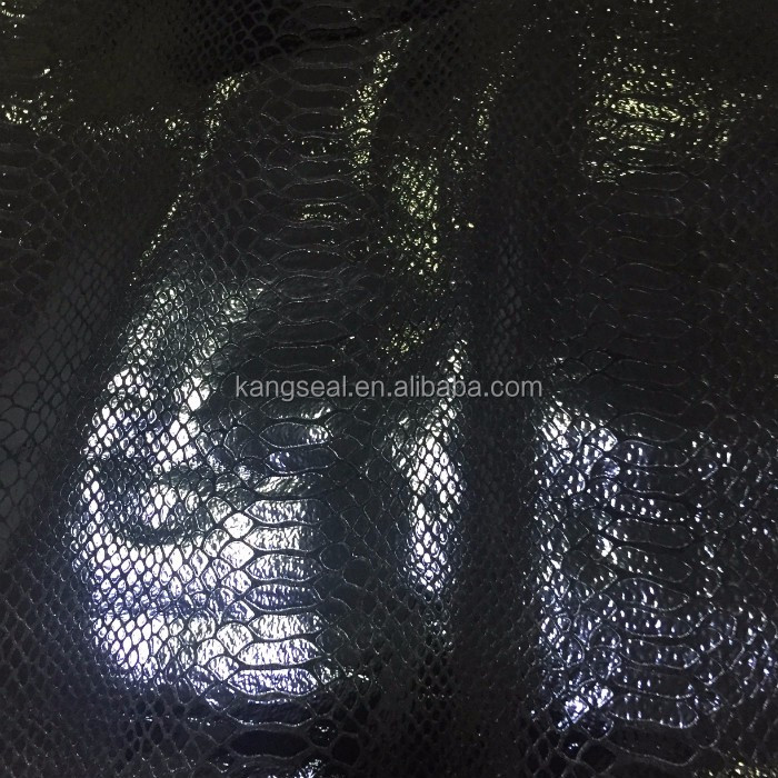 Black color snake texture pig split embossed leather, embossed pig split leather, pig skin