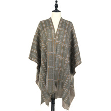 Knitted Pattern Winter Plaid Front Open Cardigan Cloak Shawl