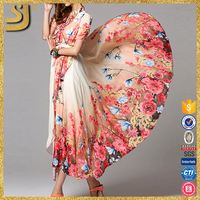 OEM new colourful summer china wholesale women chiffon maxi dress