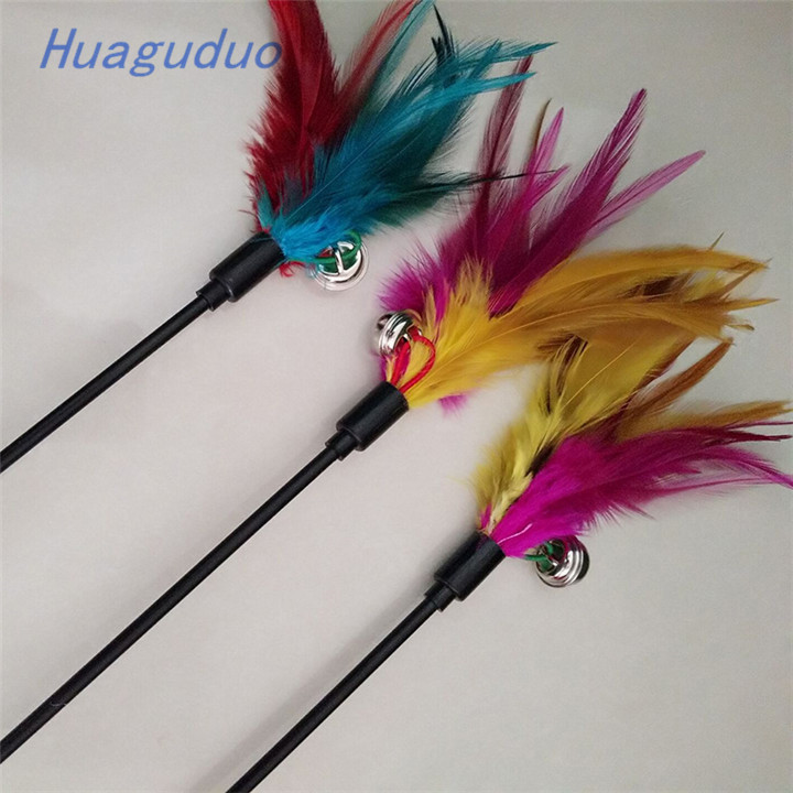 2018 New popular in China market interactive pet toy bulk cat toys 60 cm Bell feather colorful funny cat stick