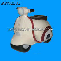 Funny Design Porcelain Motorcycle Coin Bank