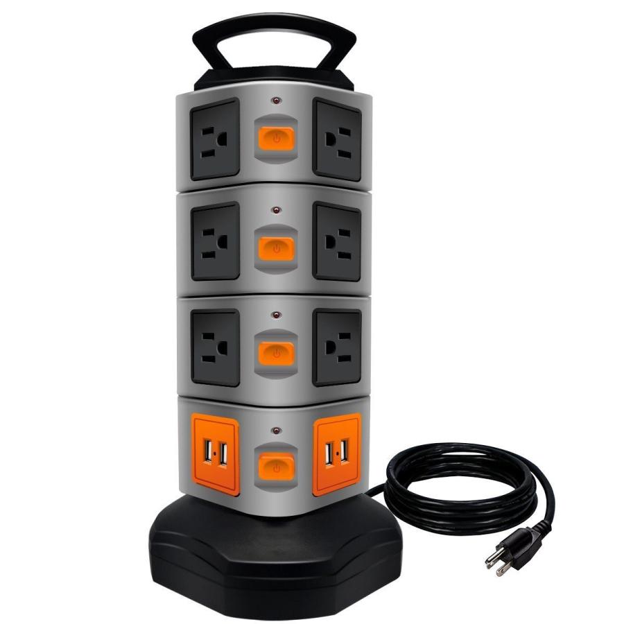 Support de Chargeur de Puissance De Protecteur De Montée Subite Bande Tour 4 Ports Ports De Chargement USB avec Cordon de 6 Pieds - ANKUX Tech Co., Ltd