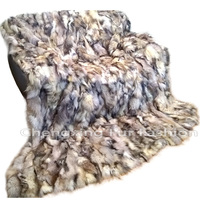 CX-D-85 Patchwork Blanket/Real Fox Fur Blanket/Throw Blankets