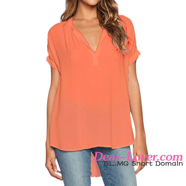 Orange sexy chiffon girl V-neck design for formal blouses pictures