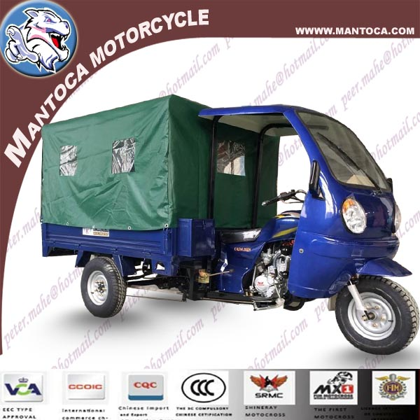250cc water cooling cabin cargo tricycle with rear tent