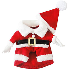 Dog Suit with Cap Santa Claus Suit Dog Hoodies Cat costumes Christmas Costumes