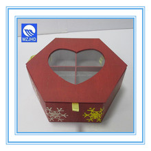 Hexagon Chocolate Paper Packaging Gift Box with 4 dividers Hot Stamping Design