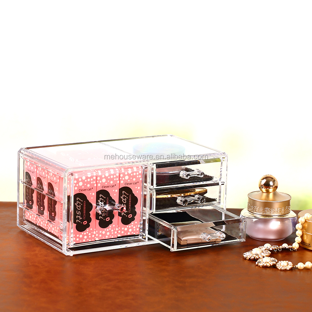 Lipsticks jewelry organizer box/makeup case with 4 drawer/Clear Acrylic coametic organizer