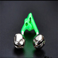 Fishing Bite Alarms Fishing Rod Bells Rod Clamp Tip Clip Bells Ring Green ABS Fishing Accessory