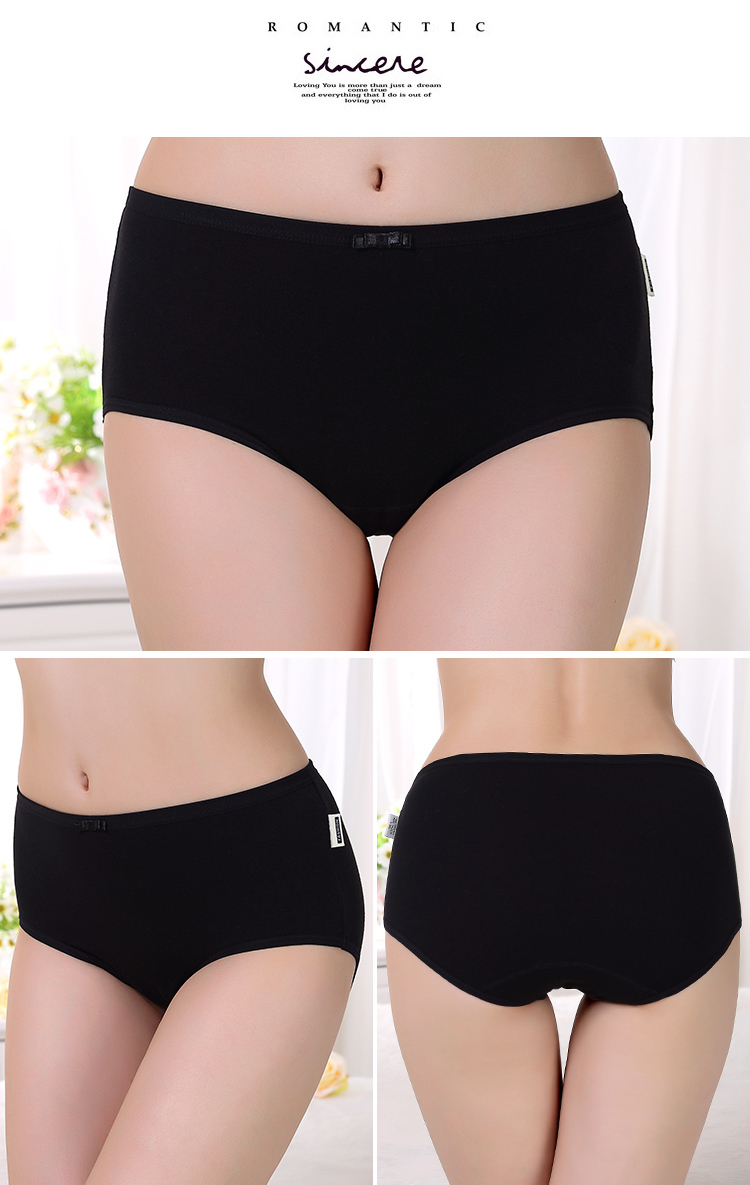Simple Deisgn high waist panty young girls womens underwear breathable cotton solid women panty