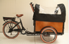 motorized tricycle cargo bike with wooden box bakfiet