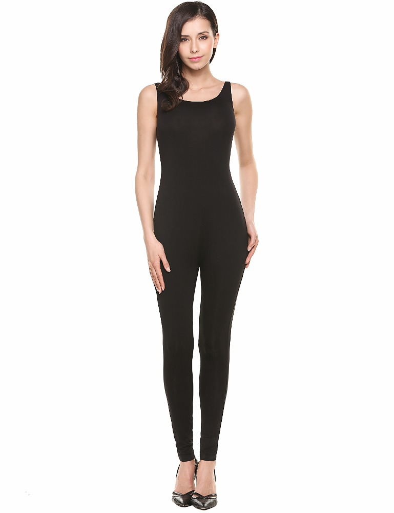 Sleeveless <strong>Active</strong> Solid Wear <strong>O</strong> Neck Bodysuit Skinny Sleepwear