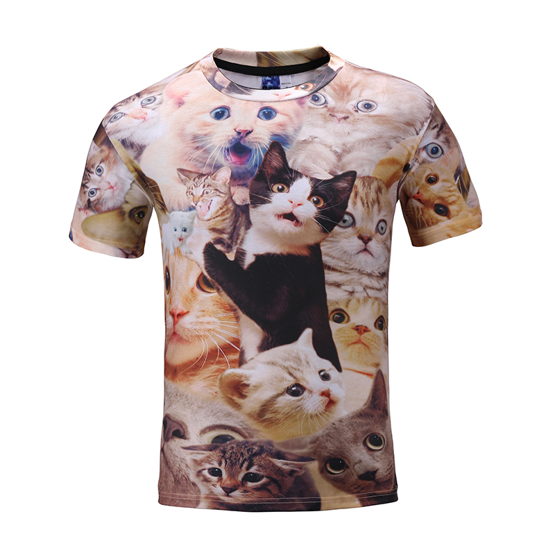 <strong>Manufacturer</strong> 3D Printed Women 100% Polyester Custom Cat Style Short T-Shirt