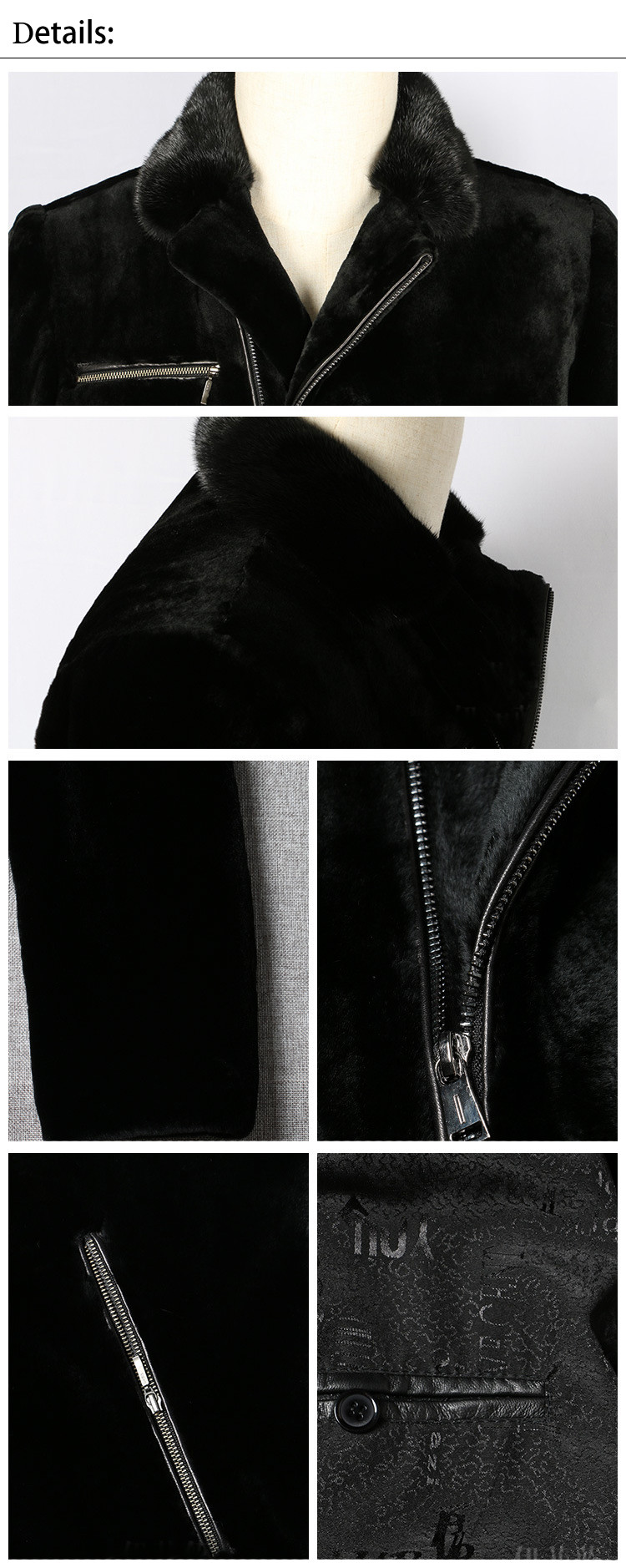 Best Quality Men Genuine Mink Fur Leather Coat with Zipper