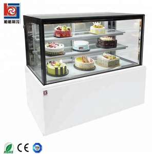 Upright refrigerated cake display counter showcase with mable