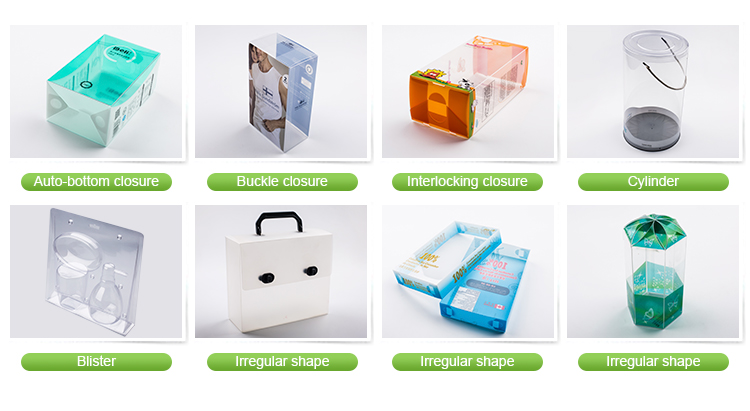 clear plastic PVC shampoo packaging box with handle/foldable rectangular transparent PVC packing box