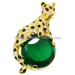 Large Emerald & Crystal Tiger Brooch Pin Professional Brooch Manufacturer