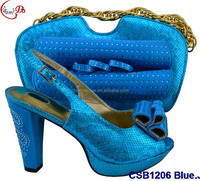 Fashionable popular CSB1206 Blue ladies wedding shoes and matching bag 2016 high quality promotion African ladies shoes and bag