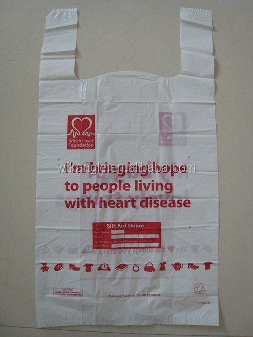 Accept Custom Design Printed HDPE Plastic Bags for doation and collection