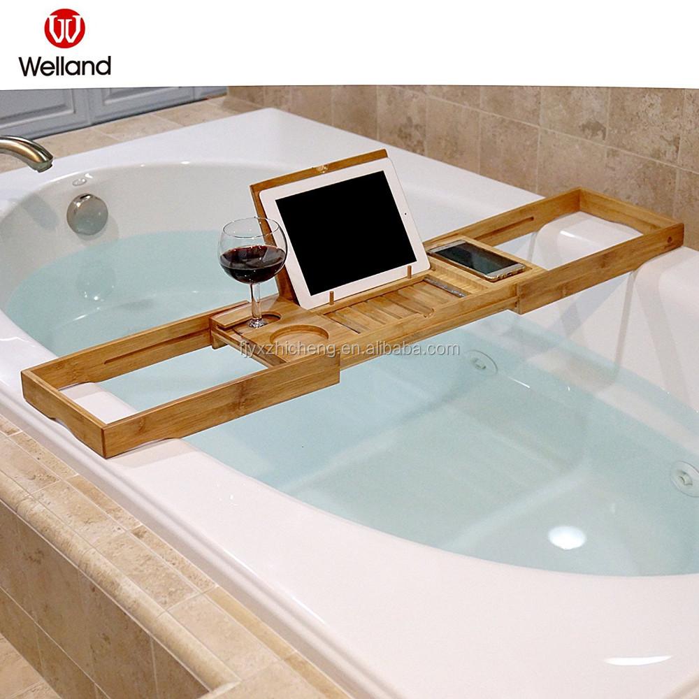 Natural Bamboo Bathtub Caddy Expandable Shower Bath Tub Tray ...
